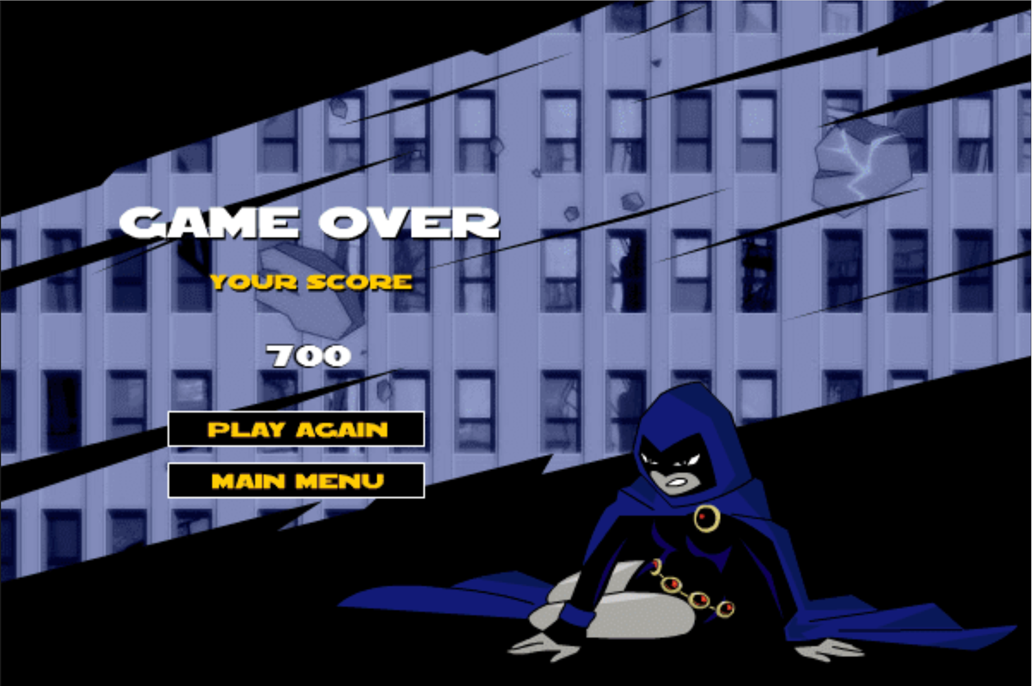 Teen Titans Go One on One Raven Game Over Screenshot.
