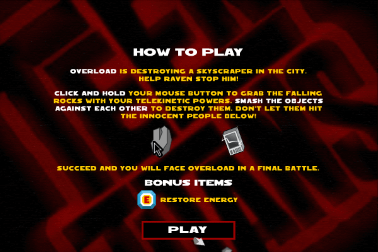 Teen Titans Go One on One Raven Game Instructions Screenshot.