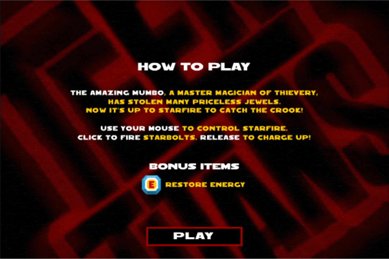 Teen Titans Go One on One Starfire Game Instructions Screenshot.