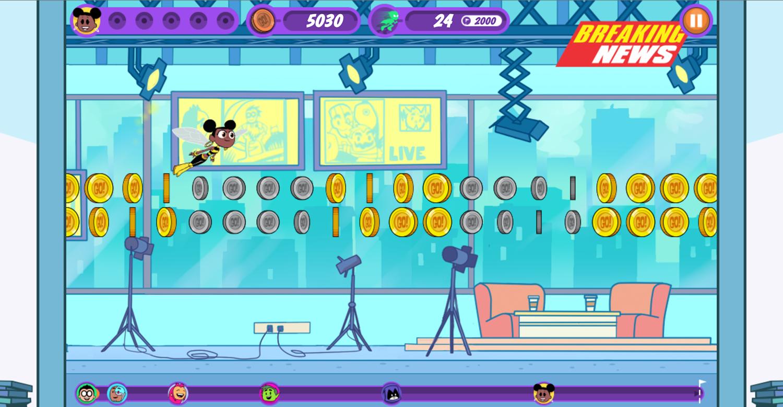 Teen Titans Go Zapping Run Breaking News Level Screenshot.
