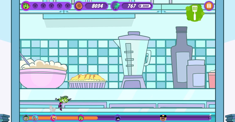 Teen Titans Go Zapping Run Food Channel Screenshot.