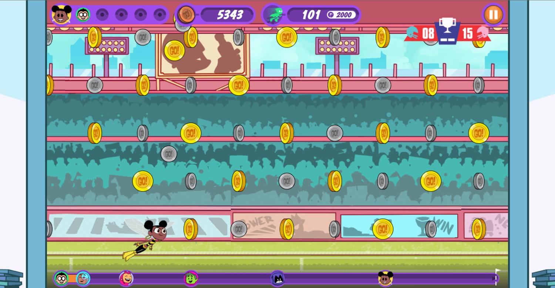 Teen Titans Go Zapping Run Sports Level Screenshot.