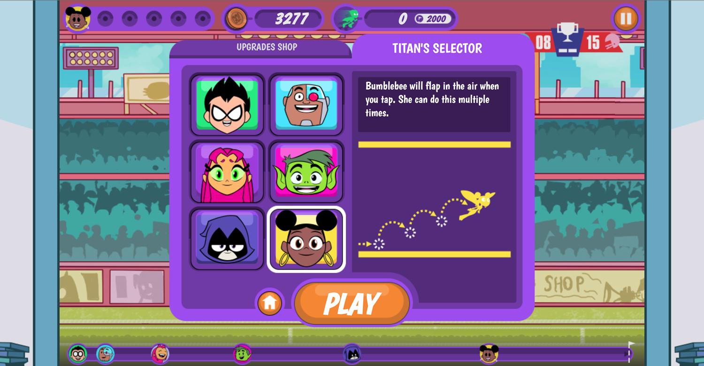 Teen Titans Go Zapping Run Titans Selector Screenshot.