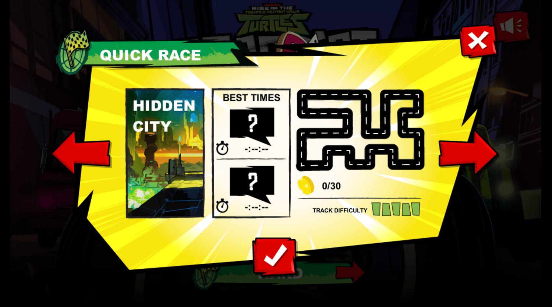 Teenage Mutant Ninja Turtles Road Riot Course Selector Hidden City.