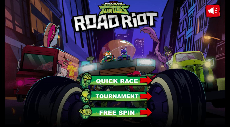 Teenage Mutant Ninja Turtles Road Riot Game Start Screen.