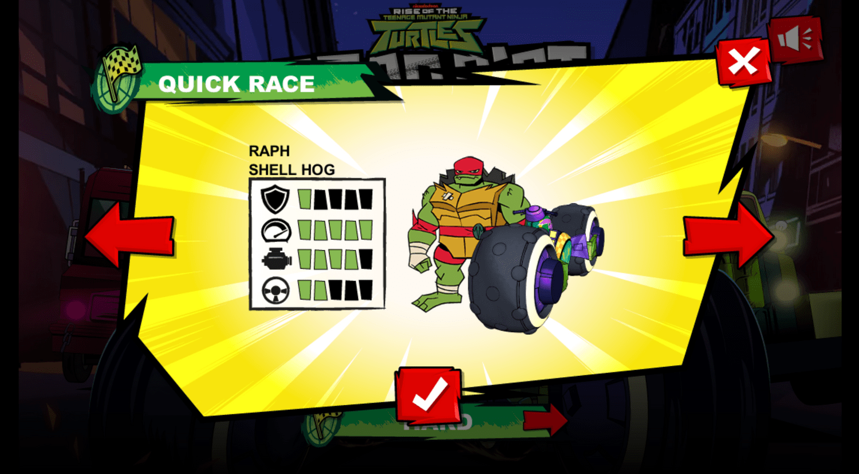 Teenage Mutant Ninja Turtles Road Riot Game Vehicle Select