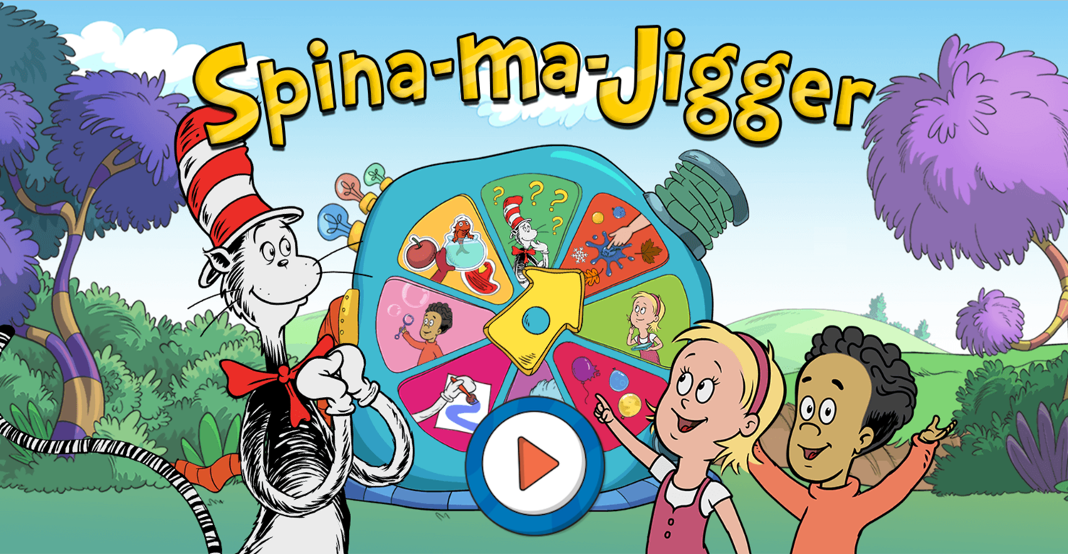 The Cat in the Hat Spinna Ma Jigger Game Welcome Screen Screenshot.