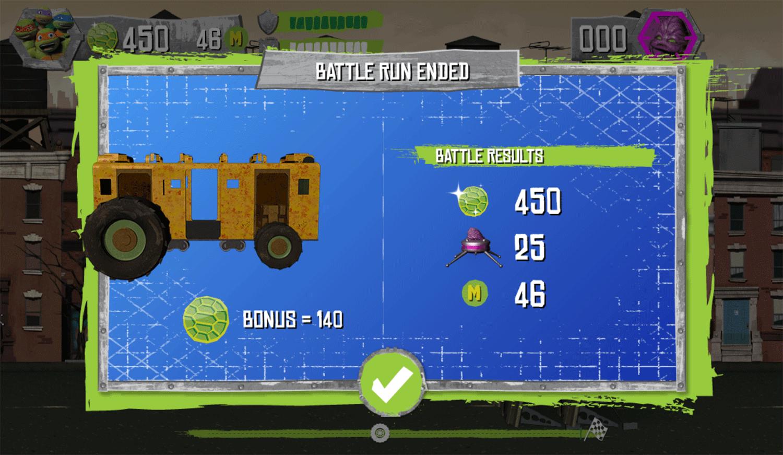 TMNT Build N Battle Game Over Screenshot.