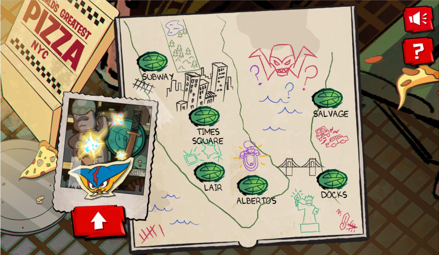 TMNT Epic Mutant Missions City Map Screenshot.