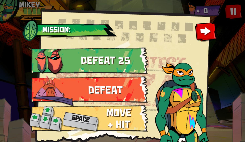 TMNT Epic Mutant Missions Level Goals Screenshot.