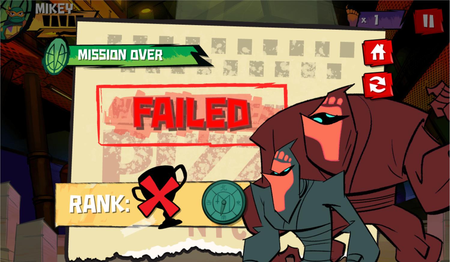 TMNT Epic Mutant Missions Mission Failed Screenshot.