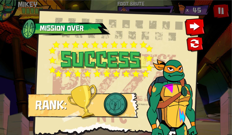 TMNT Epic Mutant Missions Mission Rating Screenshot.
