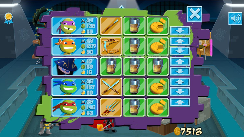 TMNT Pizza Quest Equipment Screenshot.