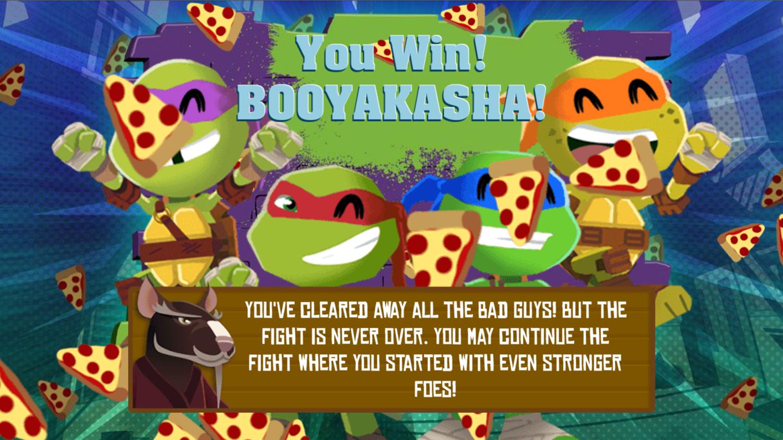 TMNT Pizza Quest Game Beat Screenshot.