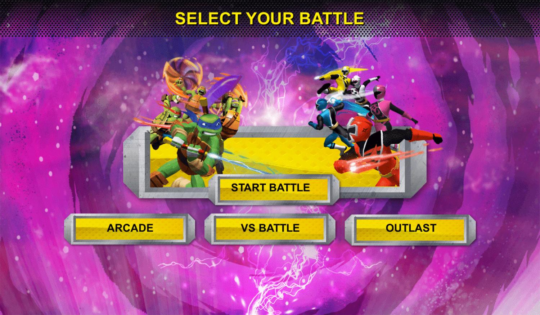 Power Rangers vs Teenage Mutant Ninja Turtles Ultimate Hero Clash 2 Mode Select Screenshot.