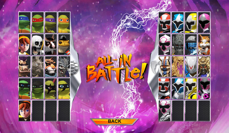 Power Rangers vs Teenage Mutant Ninja Turtles Ultimate Hero Clash 2 Player Select Screenshot.