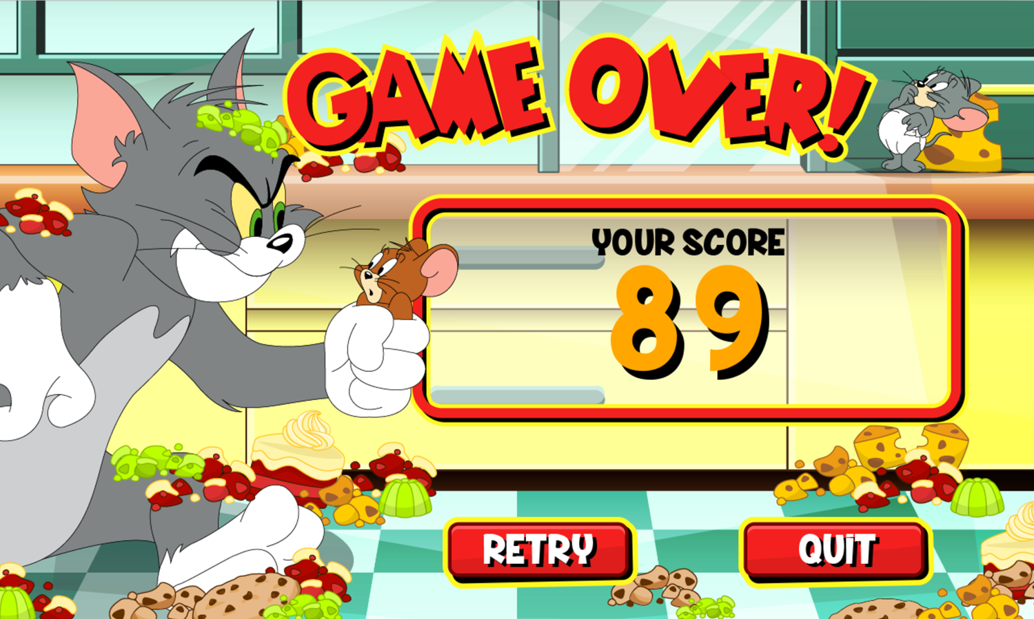 Tom and Jerry Bandit Munchers Game Over Screenshot.