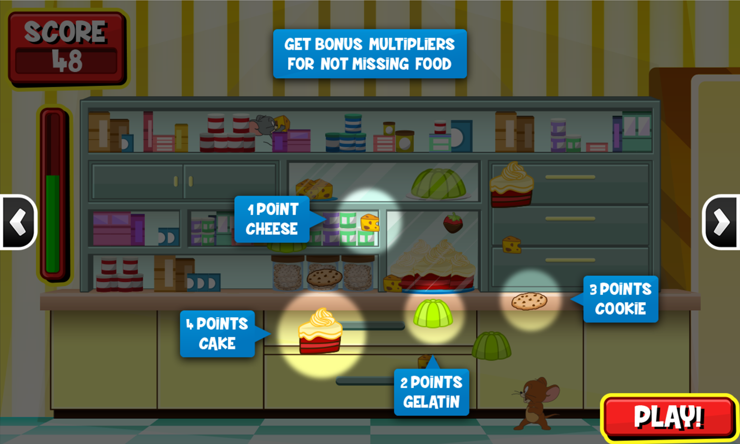Tom and Jerry Bandit Munchers Eating Points Instructions Screenshot.