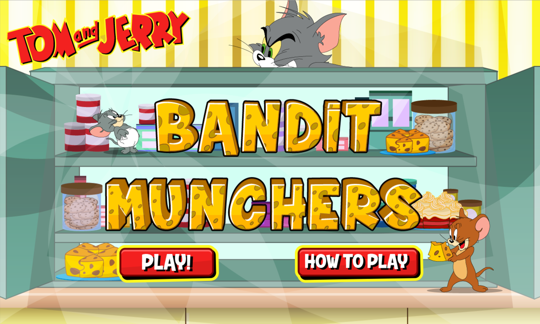 Tom and Jerry Bandit Munchers Welcome Screen Screenshot.