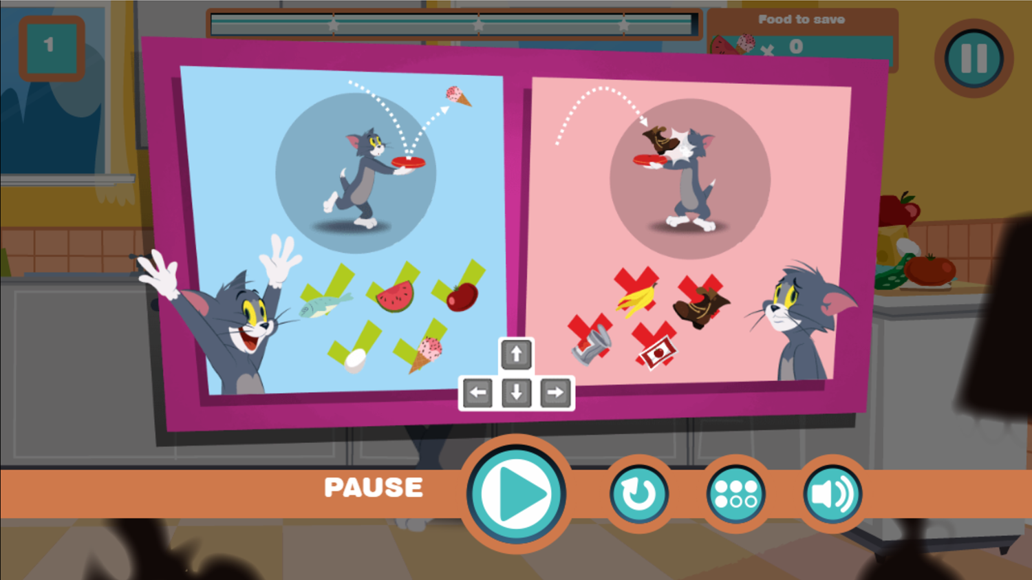 Tom and Jerry Don't Make a Mess Gameplay Instructions Screenshot.