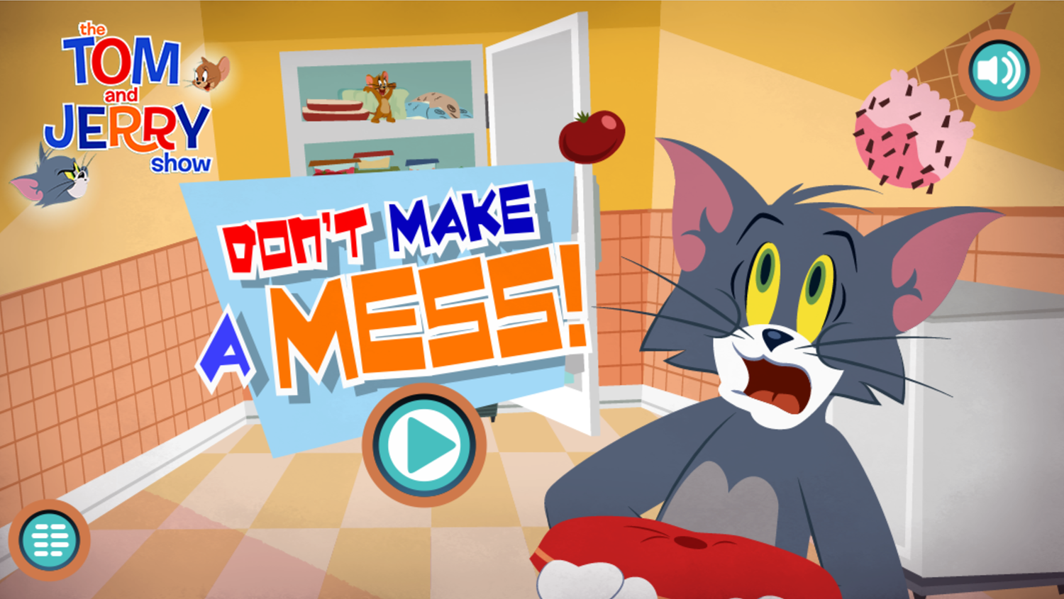 Tom and Jerry Don't Make a Mess Welcome Screen Screenshot.