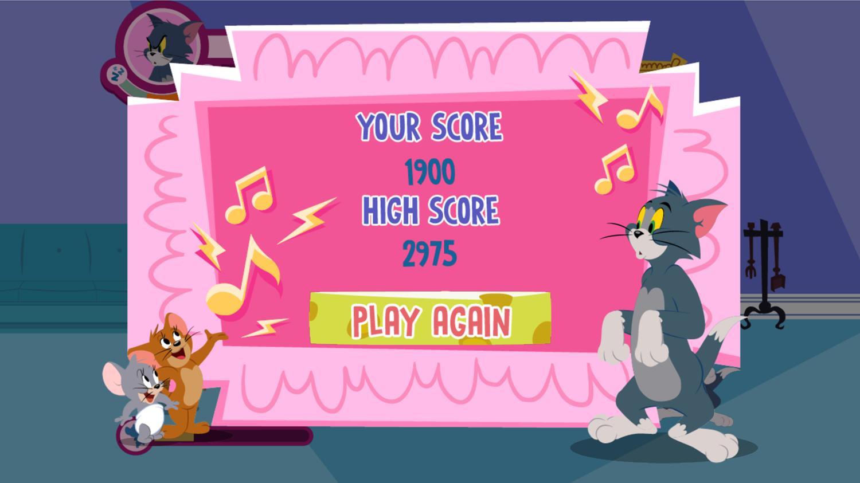 Tom and Jerry Hush Rush Game Over Screenshot.