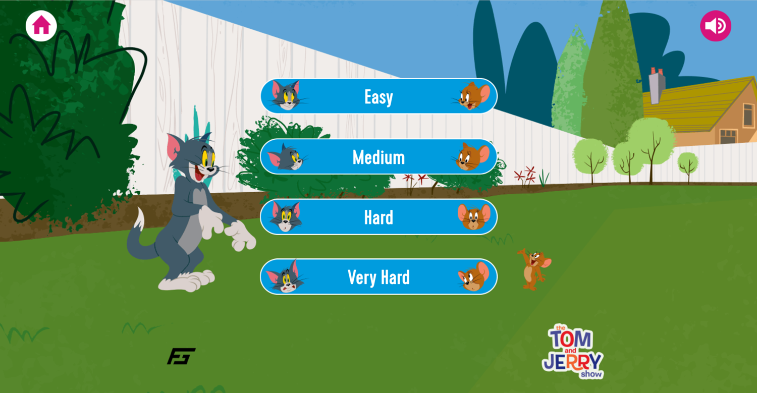 Tom and Jerry Matching Pairs Memory Cards Difficulty Select Screenshot.