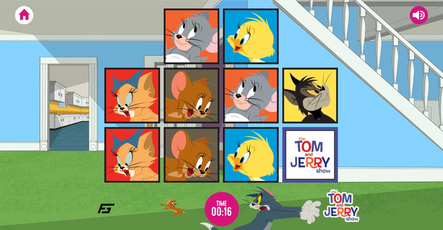 Tom and Jerry Matching Pairs Memory Cards Game Screenshot.