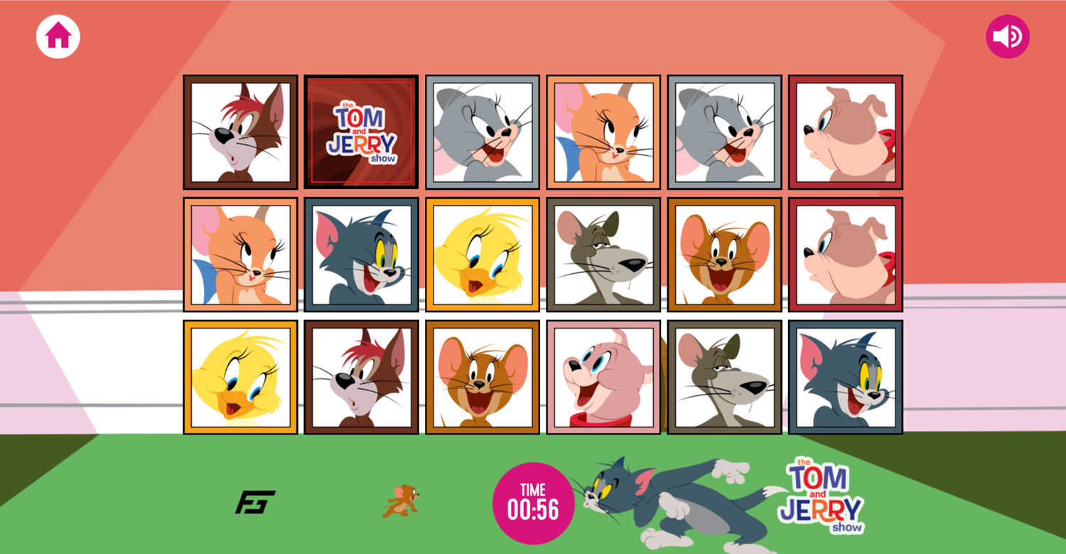 Tom and Jerry Matching Pairs Memory Cards Game Hard Level Screenshot.
