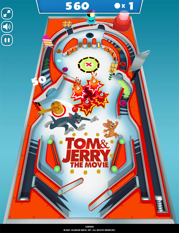 Tom and Jerry Mousetrap Pinball Game Screenshot.