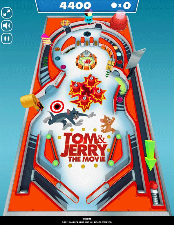 Tom and Jerry Mousetrap Pinball Gameplay Screenshot.