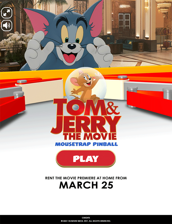 Tom and Jerry Mousetrap Pinball Welcome Screen Screenshot.