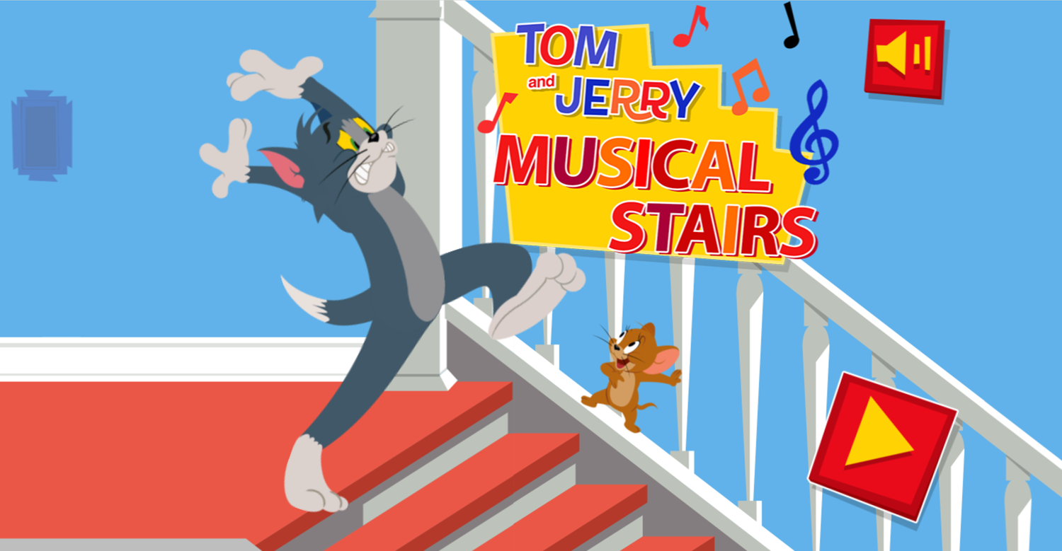 Tom and Jerry Musical Stairs Welcome Screen Screenshot.