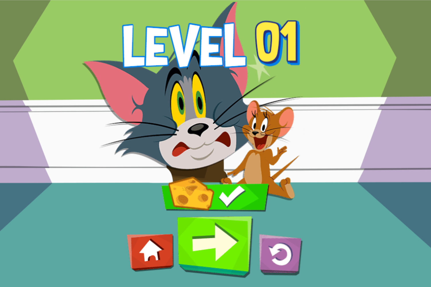 Tom and Jerry Puzzle Escape Level Beat Screenshot.