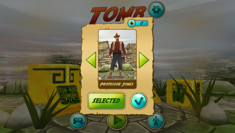 Tomb Runner Game Character Unlock Screenshot.