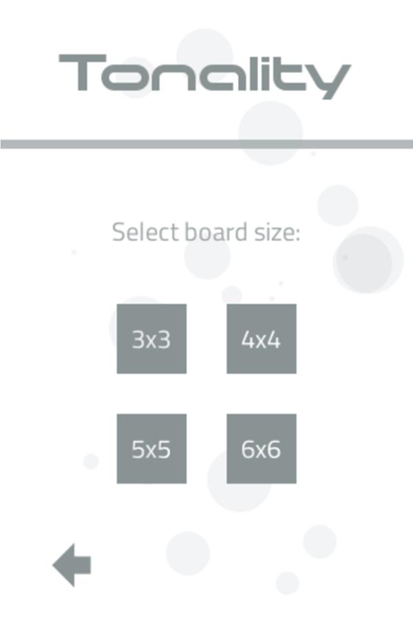 Tonality Game Select Board Size Screenshot.