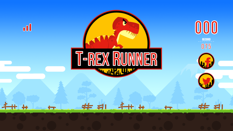 Color T-Rex Runner Game Welcome Screenshot.