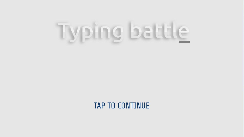 Typing Battle Game Welcome Screen Screenshot.