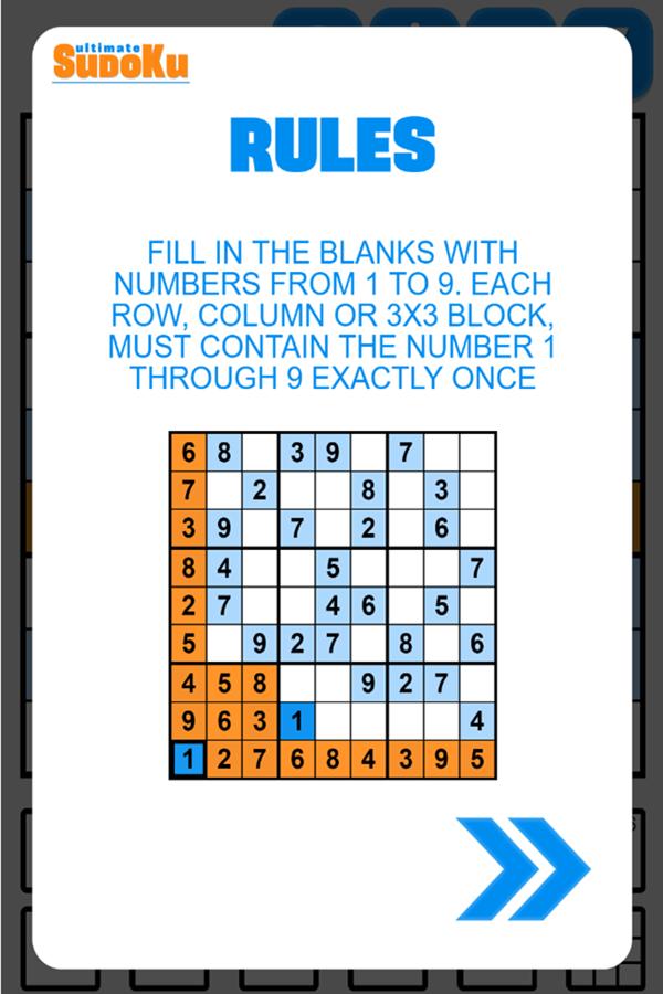 Ultimate Sudoku Game Rules Screenshot.