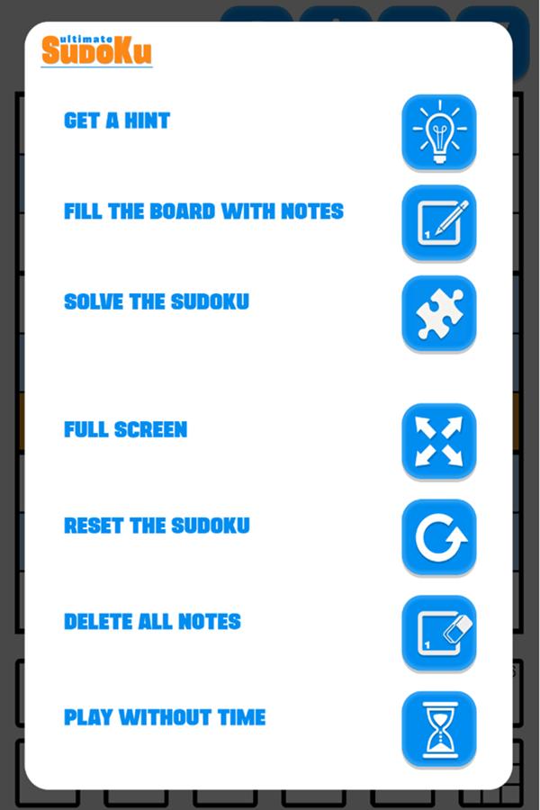 Ultimate Sudoku Game Settings Screenshot.