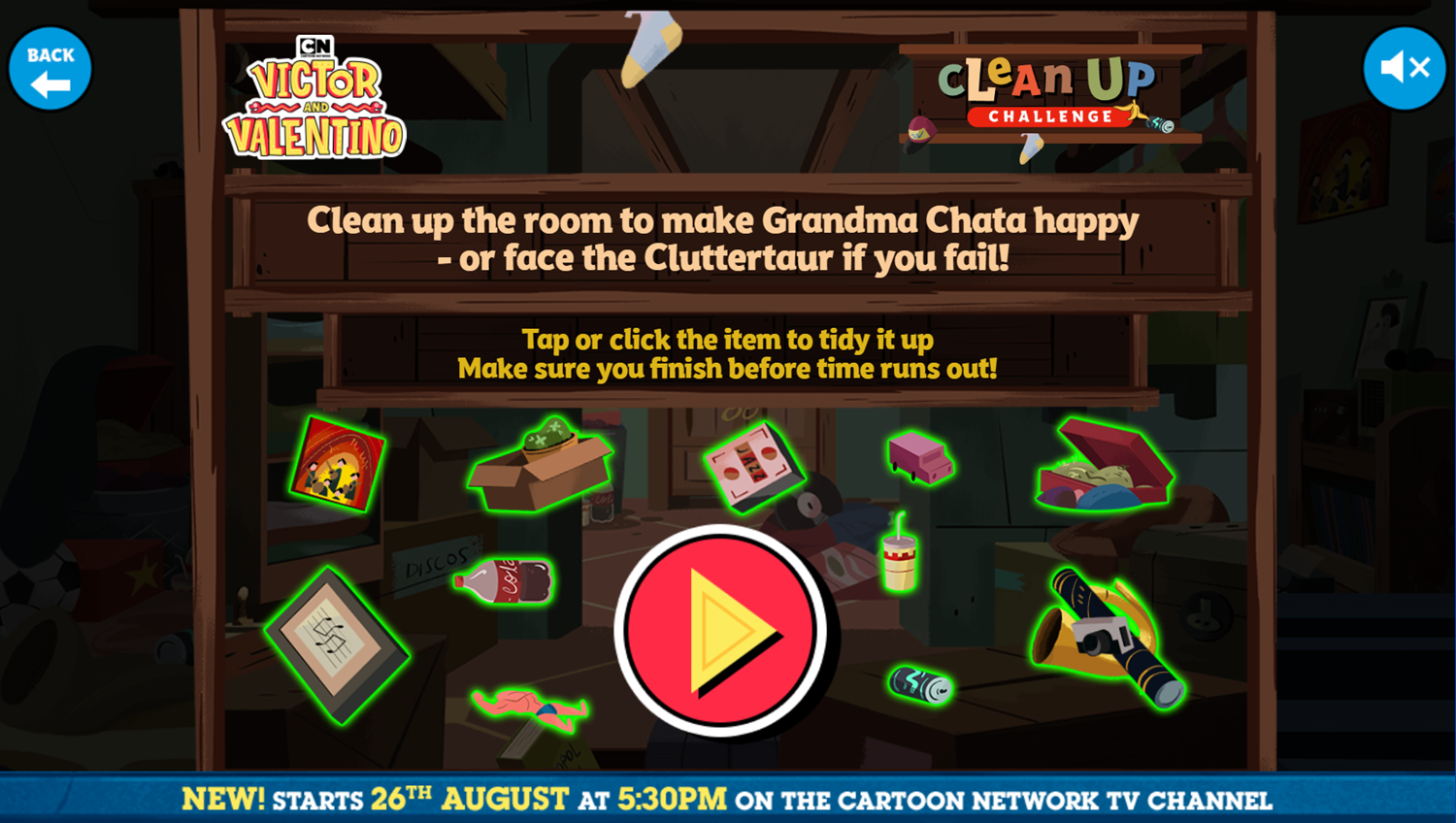Victor and Valentino Mission to Monte Macabre Case Game Clean Up Challenge How To Play Screenshot.