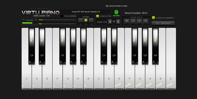 Virtu Piano Recording Screenshot.
