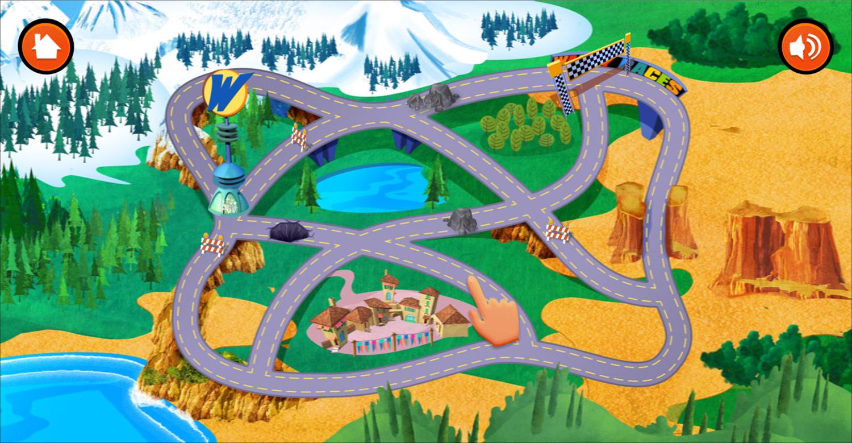 Wacky Races Road Trip Course Screenshot.