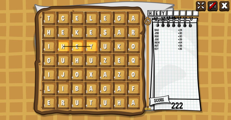 Waffle Word Search Game Screenshot.