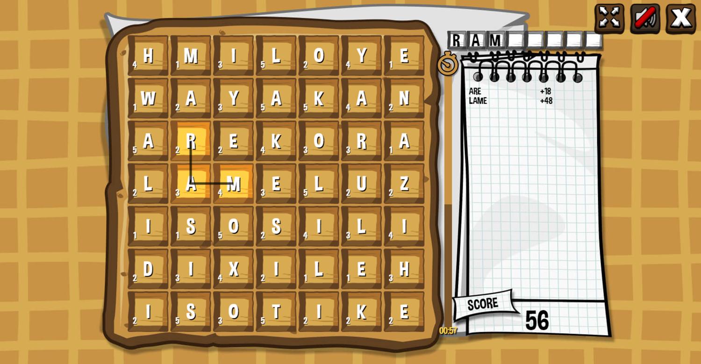 Waffle Word Finding Game Screenshot.
