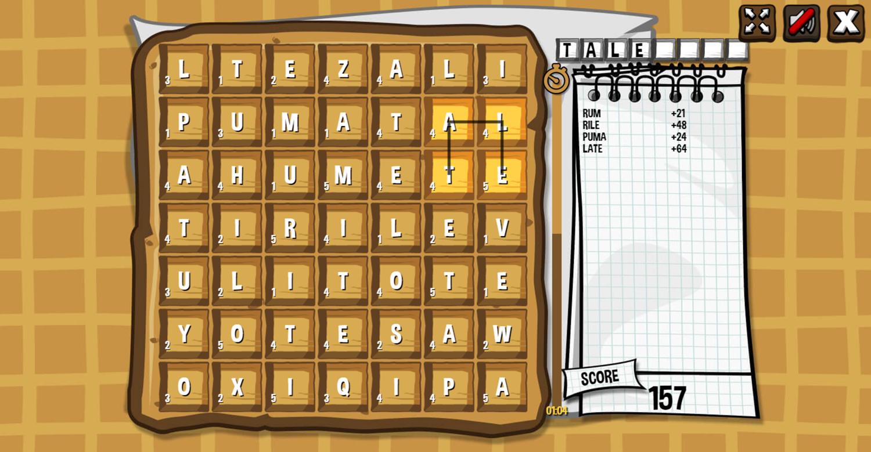 Waffle Word Finder Game Screenshot.