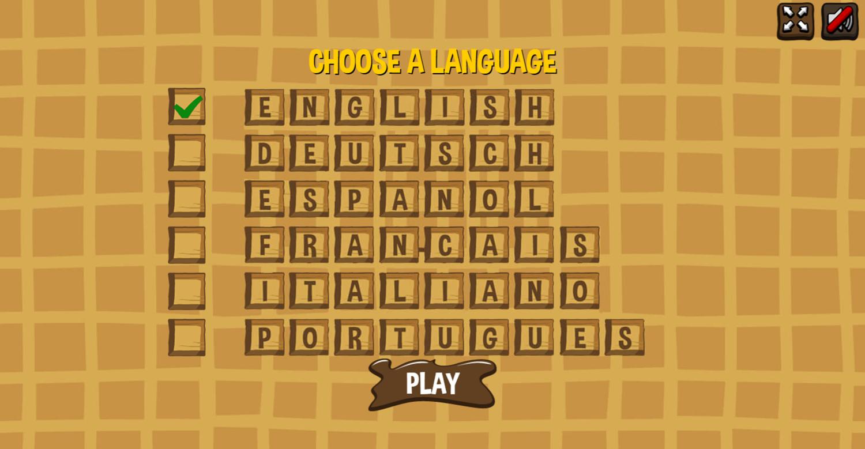 Waffle Game Language Select Screenshot.