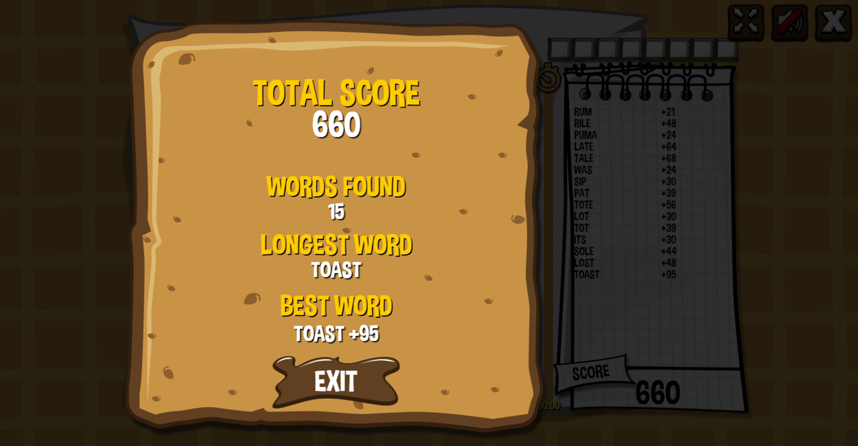 Waffle Word Finder Game Score Screenshot.