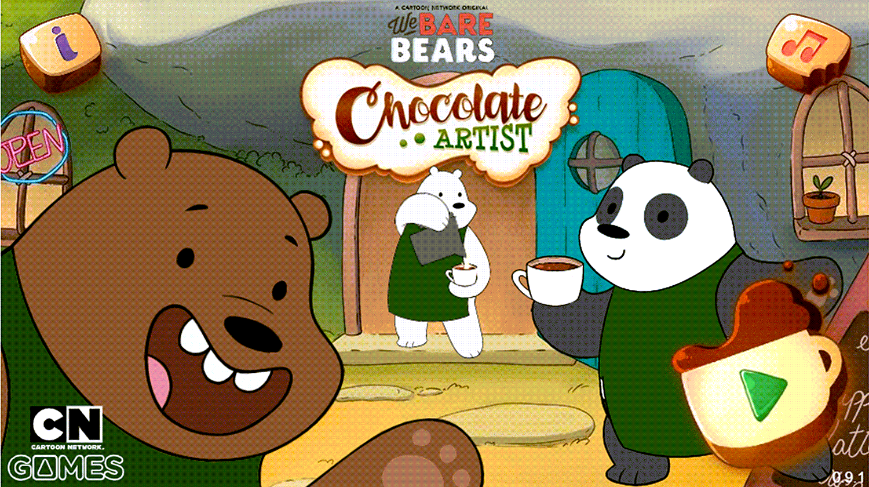 We Bare Bears Chocolate Artist Welcome Screen Screenshot.
