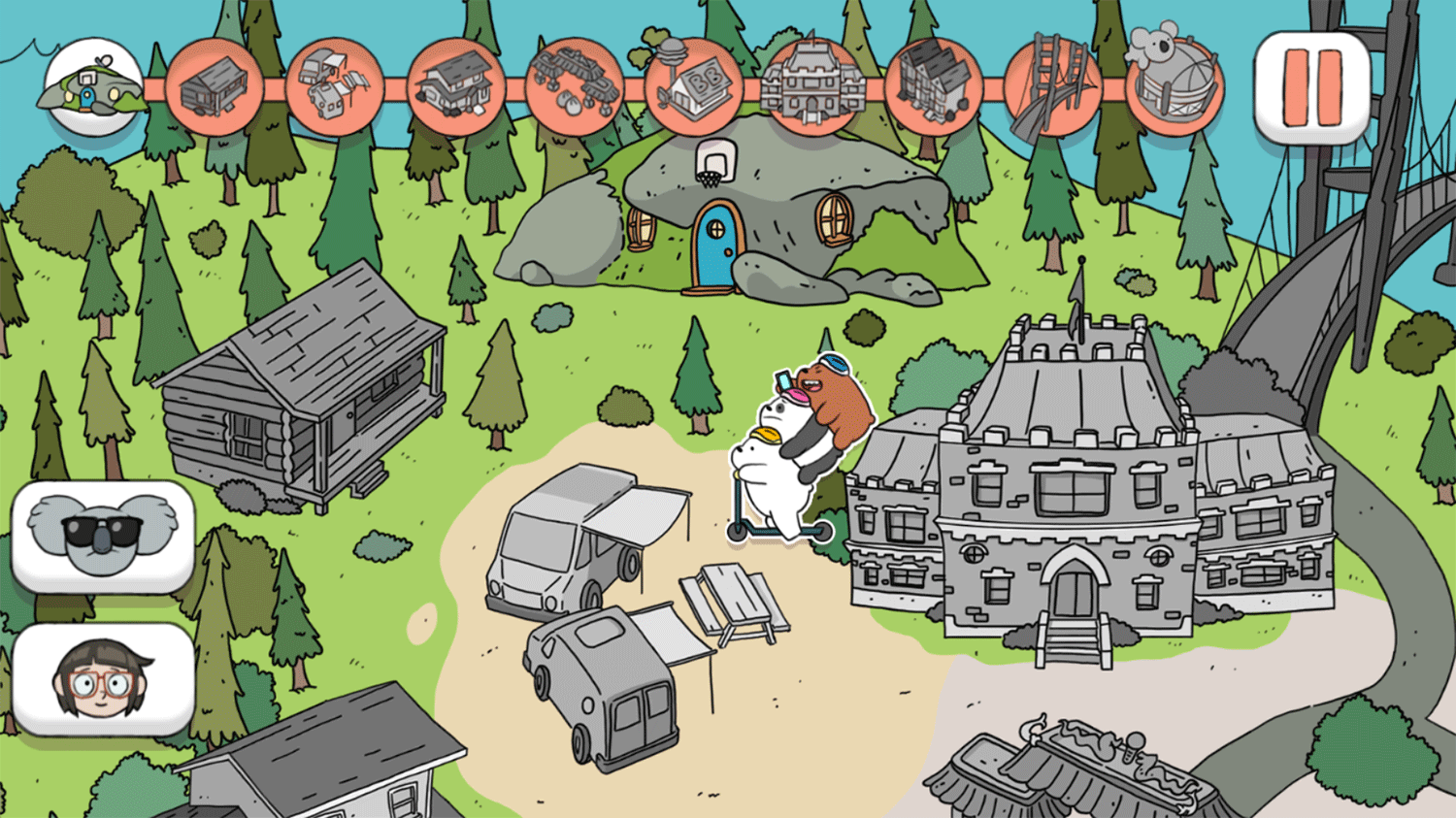 We Bare Bears Scooter Streamers Level Select Screenshot.